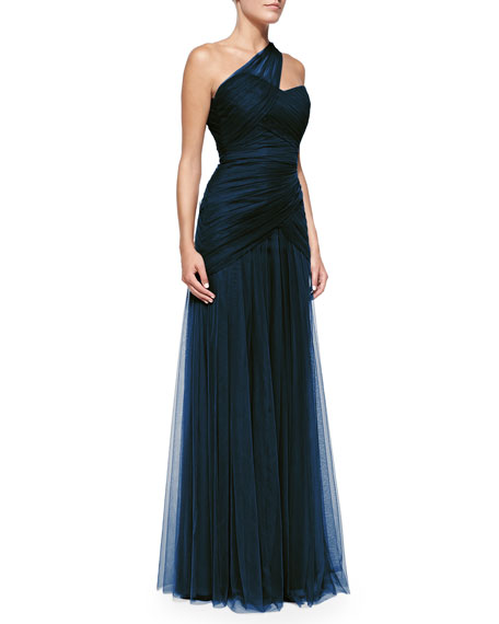 One-Shoulder Draped Tulle Gown