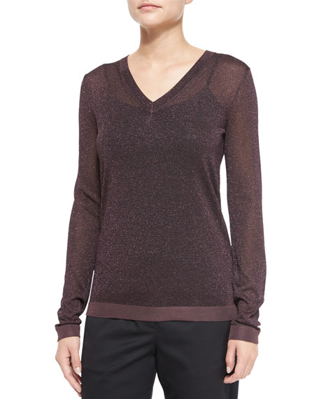 Rag & Bone Marie Metallic Knit V-Neck Top, Nightshade