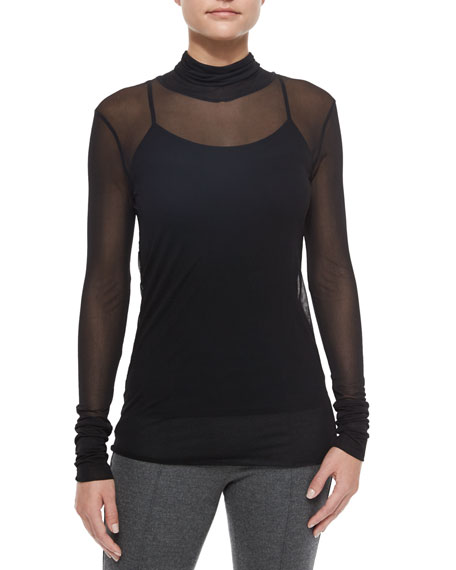 Ellen Double-Layer Turtleneck, Black