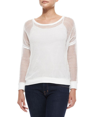 Long-Sleeve Rib-Trim Mesh Sweater, White