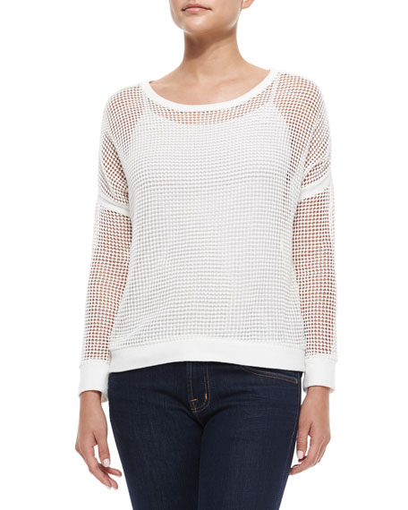 Generation Love Long-Sleeve Rib-Trim Mesh Sweater, White