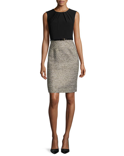 Two-Tone Sheath Dress W/Matching Jacket, Black/Gold