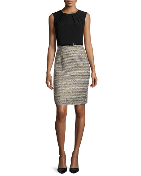 Albert Nipon Two-Tone Sheath Dress W/Matching Jacket, Black/Gold