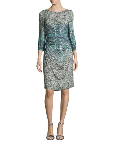 Kay Unger New York3/4-Sleeve Printed Sheath Dress, Gray