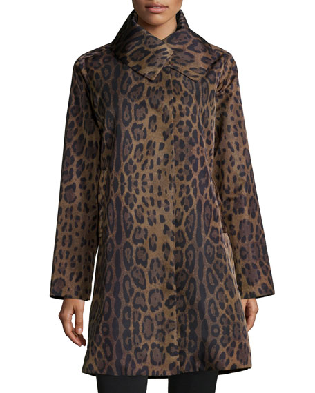 Jane Post Leopard-Print Water-Repellent Coat