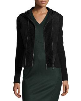 Yasmine Fur-Trim Hooded Combo Jacket