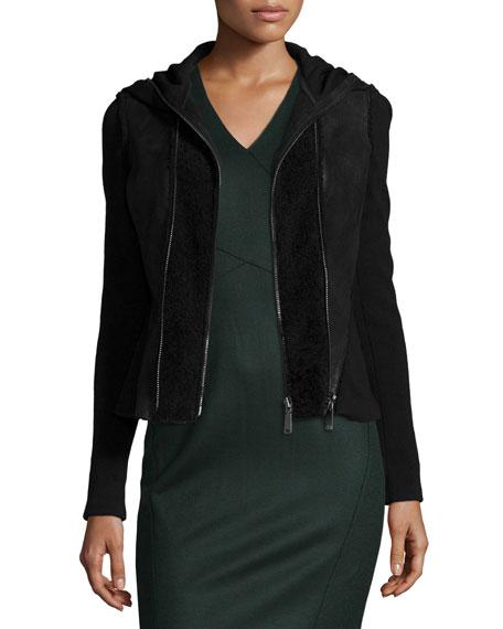 Elie Tahari Yasmine Fur-Trim Hooded Combo Jacket