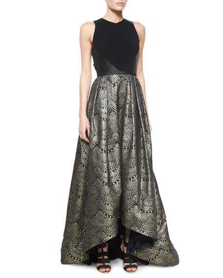 Theia Sleeveless Combo Ball Gown, Black/Gold