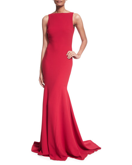 Theia Sleeveless V-Back Mermaid Gown