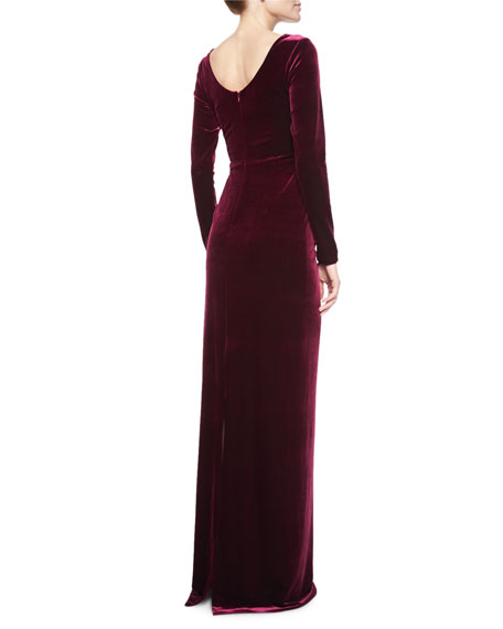 Image 3 of 3: Long-Sleeve Faux-Wrap Gown, Merlot