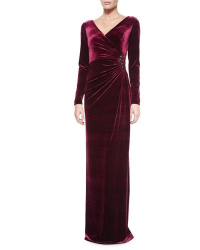 Long-Sleeve Faux-Wrap Gown, Merlot