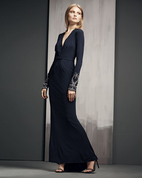 Beaded-Cuff V-Neck Gown, Navy