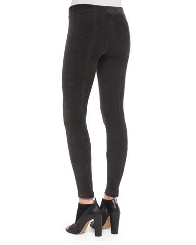 Corduroy Full-Length Leggings, Black