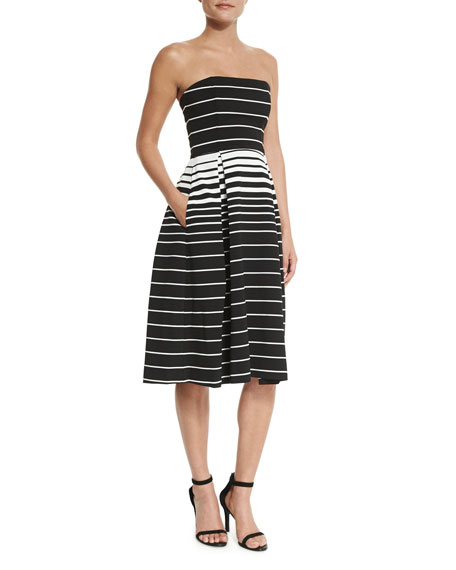 Nicholas Corsica Multi-Stripe Ball Dress, Black/White