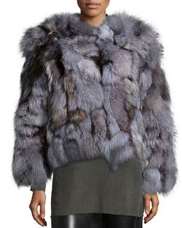 Graye Open-Front Fox-Fur Coat, Gray