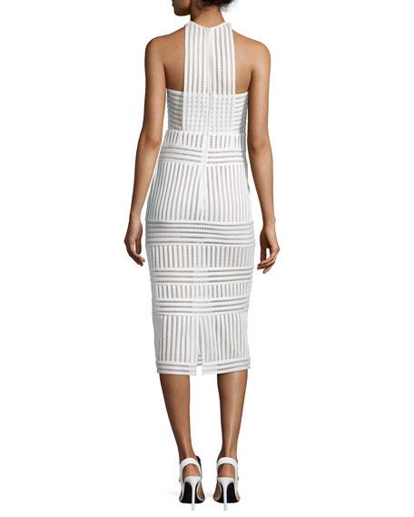 Self-Portrait Striped Mesh-Knit Midi Sheath Dress, White