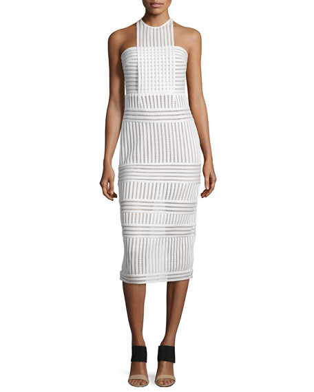 Self PortraitStriped Mesh-Knit Midi Sheath Dress, White