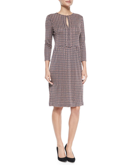 Tory Burch Printed Silk Keyhole-Front Dress
