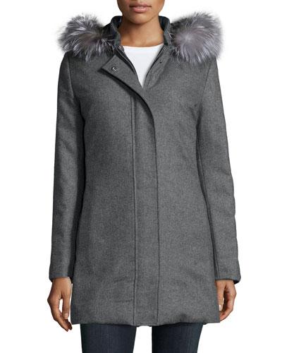Fur-Trim Reversible Puffer Coat