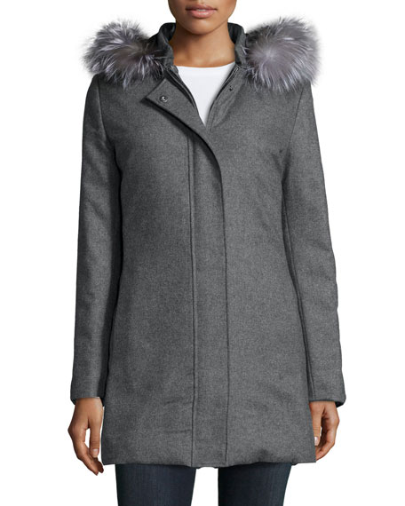 Fleurette 365 Fur-Trim Reversible Puffer Coat