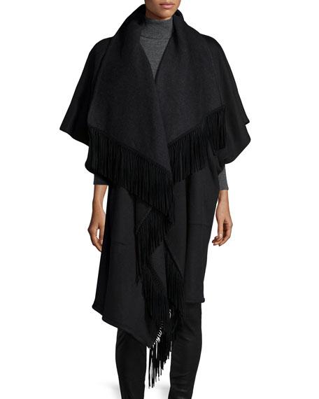 Sofia CashmereMidi Wool-Blend Wrap Coat W/ Fringe