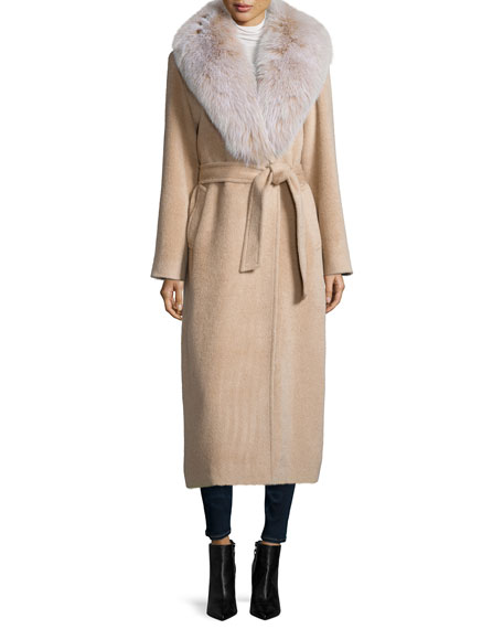 Sofia Cashmere Long Alpaca-Blend Wrap Coat W/ Fox Fur Collar