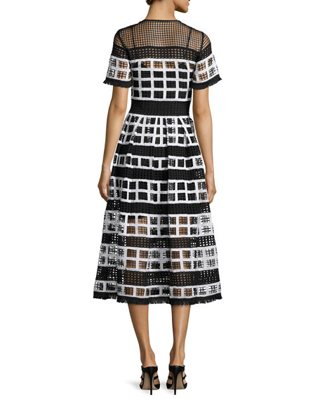 Image 2 of 2: Bernice Mesh-Knit A-Line Midi Dress, Black/White