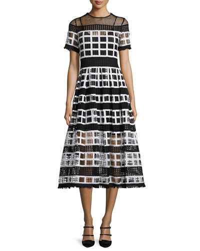Bernice Mesh-Knit A-Line Midi Dress, Black/White