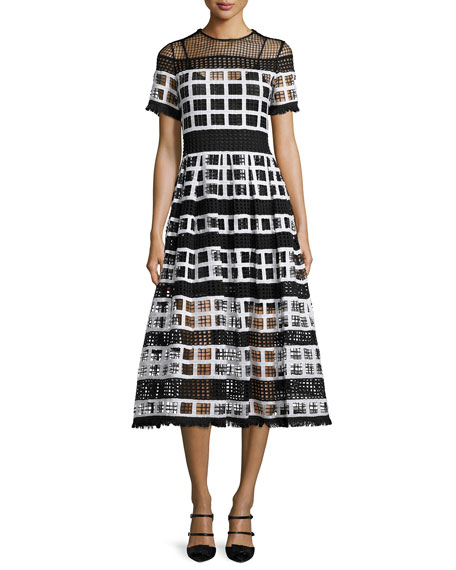 Image 1 of 2: Bernice Mesh-Knit A-Line Midi Dress, Black/White