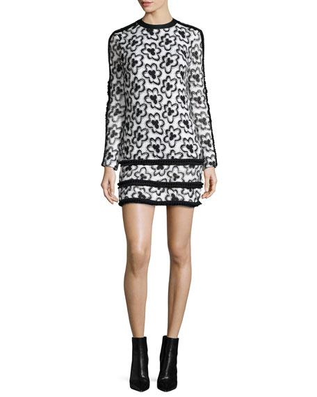 AlexisEdna Long-Sleeve Wildflower Sheath Dress, White/Black