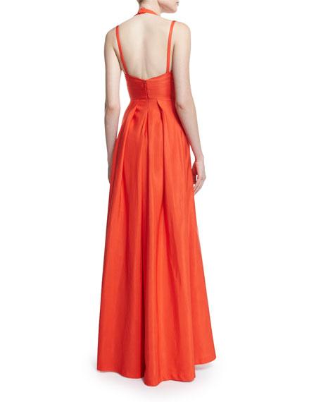 Contessa Sleeveless Split-Front Gown, Orange
