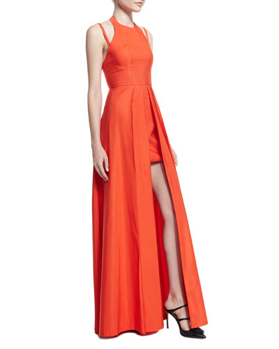 Contessa Sleeveless Split-Front Gown, Orange