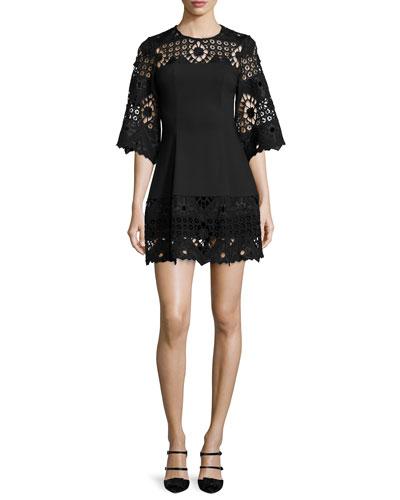 Rae Crochet-Trim Ponte Mini Dress, Black