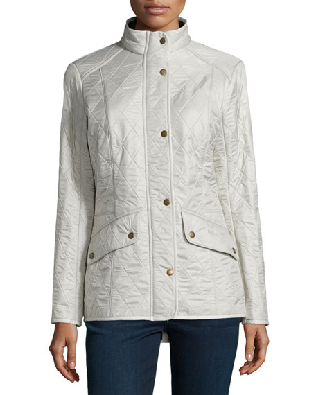 BarbourCavalry Polar Long-Sleeve Snap-Front Quilted Jacket, Pearl