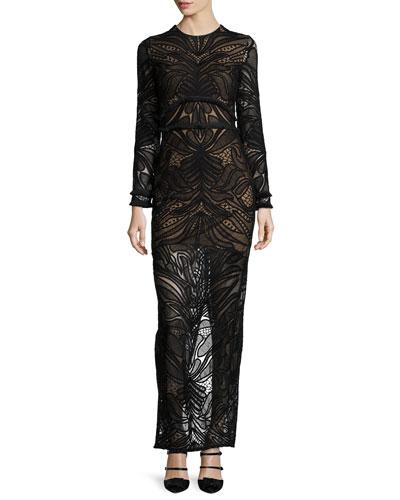 Alexis Kassidy Long-Sleeve Lace Maxi Dress, Black