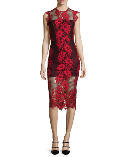 Rosie Sleeveless Lace-Trim Pencil Dress, Red