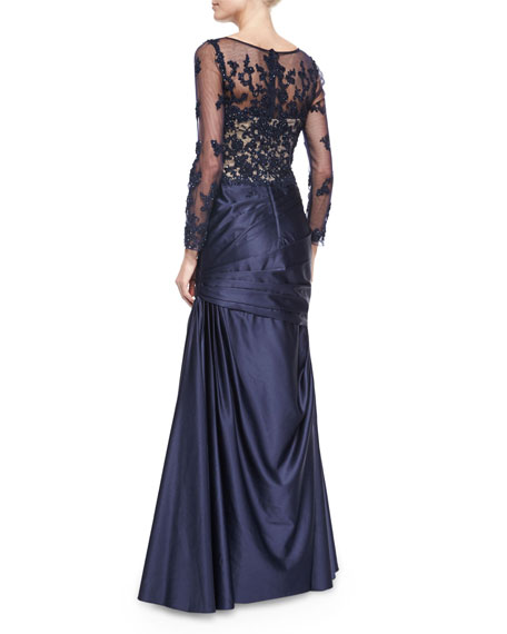 Long-Sleeve Ruched Lace & Satin Gown, Navy