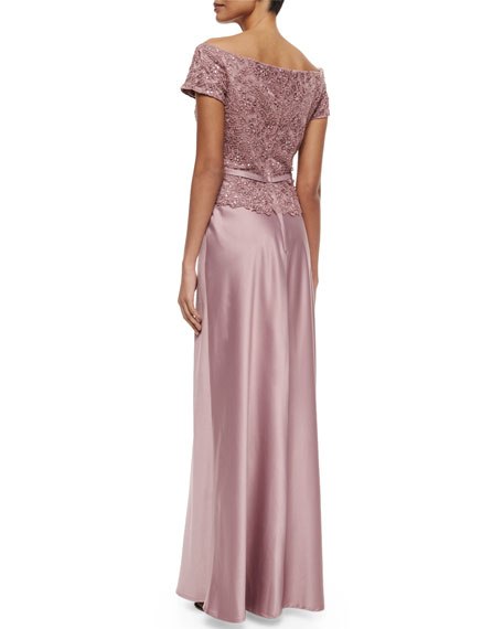 Belted Off-the-Shoulder Lace & Satin Gown, Mauve