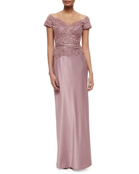 La Femme Belted Off-the-Shoulder Lace & Satin Gown,