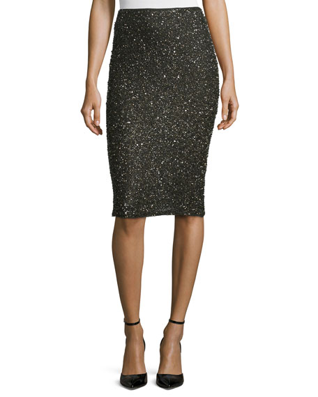 Alice + Olivia Ramos Shimmery Beaded Pencil Skirt