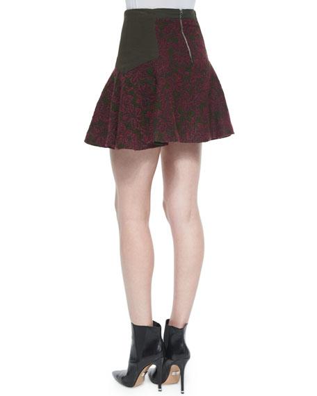 Elsie Asymmetric Patterned Flare Skirt