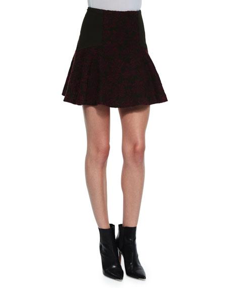 Alice + Olivia Elsie Asymmetric Patterned Flare Skirt