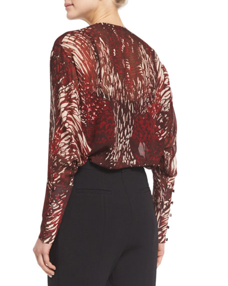Long-Sleeve Printed Silk Keyhole Blouse, Red