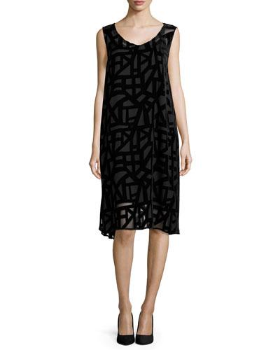 Sleeveless Deco Velvet Burnout Knee-Length Dress, Women's
