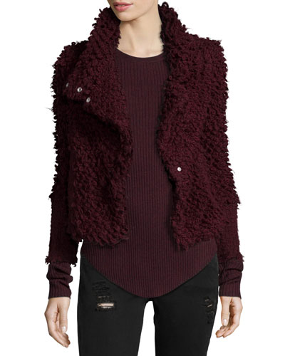 Caty Shaggy Moto Jacket, Burgundy