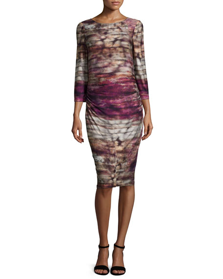 Kay Unger New York3/4-Sleeve Printed Jersey Dress