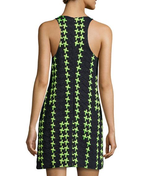 Sleeveless Crosshatch Shift Dress