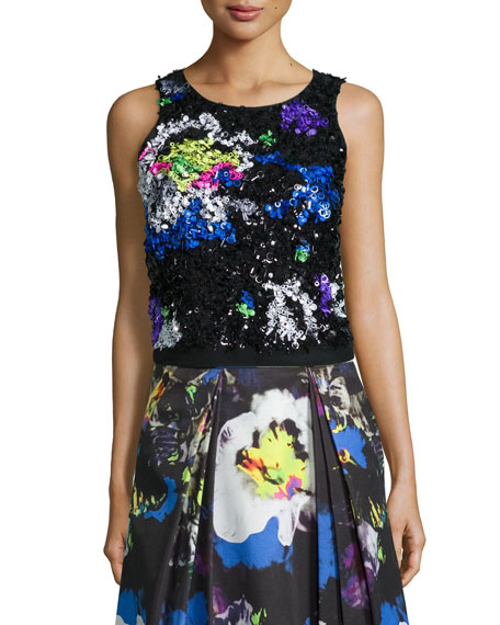 Milly Midnight Floral Beaded Top