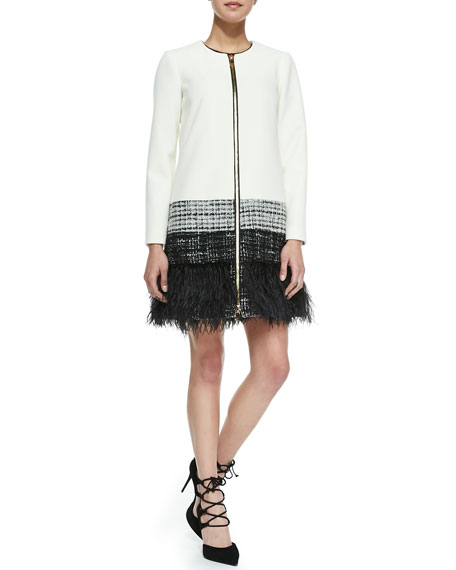 MillyZip-Front Feather-Trim Jacket