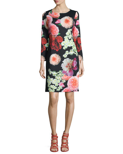 Photogarden-Print Sheath Dress, Women's